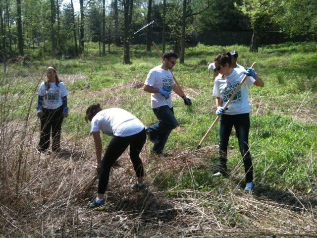 OnSIP team members doing yardwork