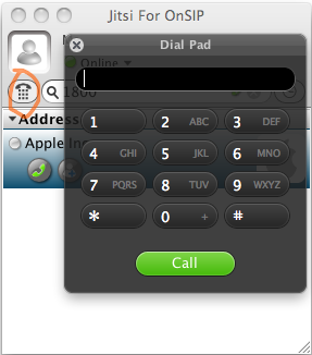 Jitsi for OnSIP call dialpad