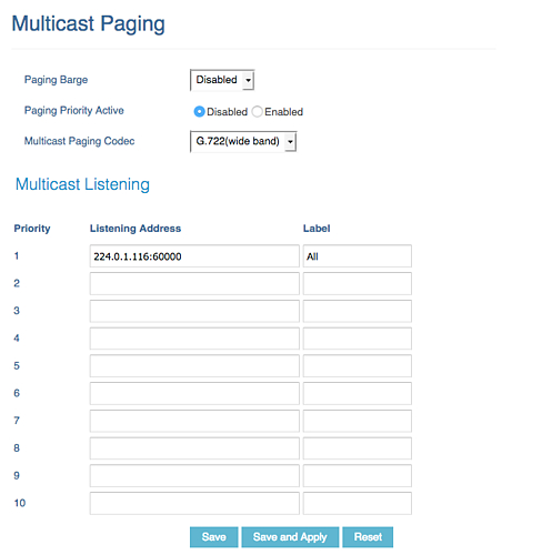 Multicast Paging for Grandstream phones